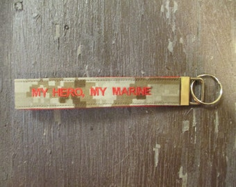Military Wristlet, My Hero My Marine Marine Name Tape Key Chain, US Marine Corps Military Keychain, Marine Key Fob