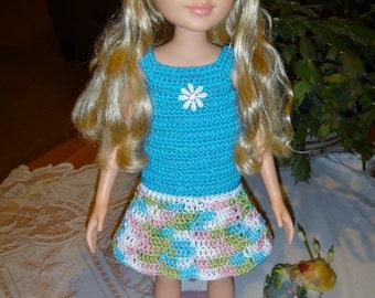 Crochet outfit Best Friends Club 18 inch doll Cotton Thread Dress Drop Waist Aqua Pink Green White