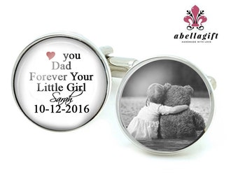 Father Dad Cufflinks, Picture Photo Cufflinks, Wedding Gift, Cuff links, Father Gift, Father Day