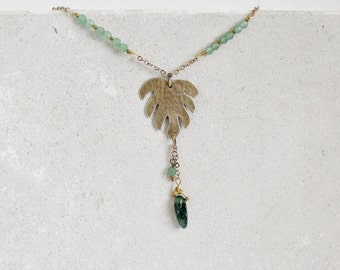 Tropical leaf necklace, brass, green aventurine and moss agate