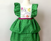 First Birthday Party Dress, Grass Green Eyelet