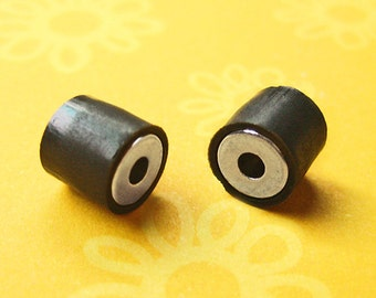 1 (2 pcs) Magnetic Jewelry Clasp Extra Strong Black Covered Tube 7mm x 7mm