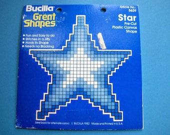 Vintage 1982 Bucilla Great Shapes Star Pre-Cut Plastic Canvas Shape for Needlepoint and Needlecrafts, In Original Package, Item #5631