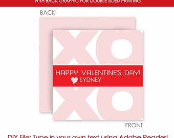 Valentine's Day XOXO Hugs and Kisses Love Favor Gift Tags - Instant Download - Printable DIY with fully editable text