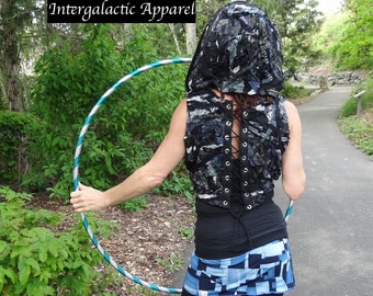 Sacred Geometry Hoodie, Interstellar Weave Corset Vest, Festival Clothing, Gypsy Vest, OOAK Hippie Clothes Intergalactic Apparel