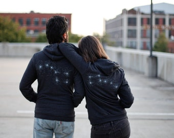 Big Dipper Little Dipper Zip Hoodie set, graphic hoodies for men and women, matching sweatshirts, wedding gift, unisex black hoodies