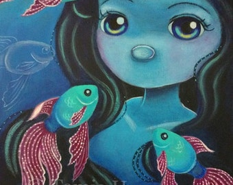 ORIGINAL Big Eye Art Acrylic Painting Mermaid Fish Aquarium Ocean Blue Rainbow Tamia Chicasol