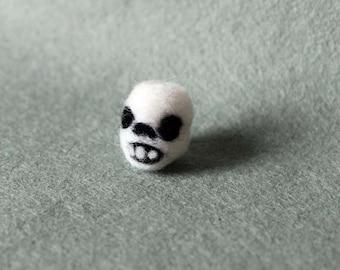 Needle Felted Miniature Skull Soft Sculpture - Made to Order - Felt Tiny Skull - Felted Skull Halloween Decor - Skull Needlecraft Art