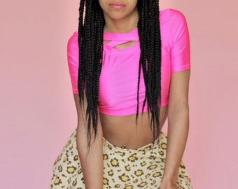 Neon pink crisscross crop top 90's spandex bondage fairy kei size S small vaporwave drag queen clothing