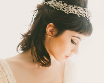 Silver woodland crown, Silver bridal headpiece, Silver wedding crown, Bridal head piece, Silver bridal wreath - SOLSTICE (thin style)