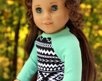 Fits like American Girl Doll Clothes - Aztec Print and Seafoam Raglan Tee, Made To Order