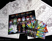 SALE Myka Jelina Fantasy Art Coloring Pages & Trading Card Set 5 Rainbow Pixie Stick Circus Sideshow Freaks Fairy Art