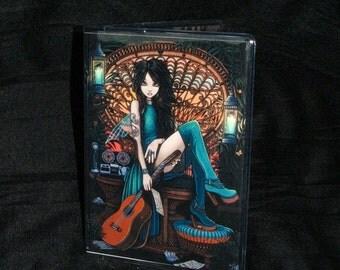 Bohemian Fairy Peacock Chair Song Writer Guitar Aria Vinyl Business Card Holder