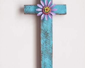 Cross READY TO SHIP Reclaimed RoughCut Mahogany Cross Metal & Ceramic Flower Wall Cross Religious Wedding Baptism Sympathy Remembrance Gift