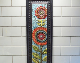 Tile Wall Art Mosaic Art Mosaic Wall Art Two Blossoms Colorful Wall Art Floral Ceramic Pottery Semiprecious Stones Happy Whimsical Flowers