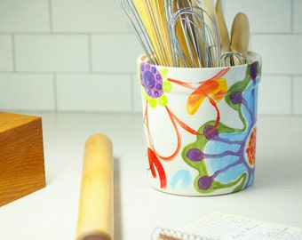 Utensil Holder Kitchen Utensil Holder Ceramic Utensil Holder Pottery Utensil Holder Extra Large Colorful Whimsical Pottery Gift for Baker J