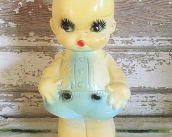 Vintage Pastel Chalkware Kewpie Doll Carnival Prize Winged Baby Cherub