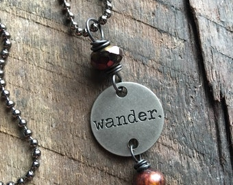 WANDER - Pendant Necklace, Stamped Necklace, Stamped Jewelry, Silver Charm Necklace, Inspirational Quote Necklace, Gift for Her