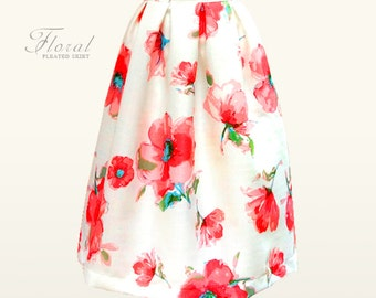 Custom fully lined woven floral pleated midi skirt with pockets - custom size and length