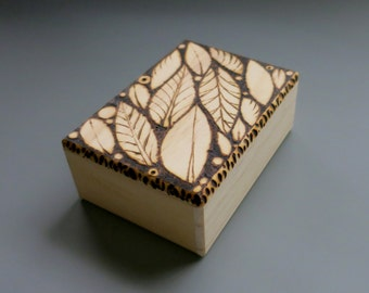 Wooden Leaf Box, Pyrography, Wood Burned, Rustic Jewelry Gift Box, Bare Wood, Add Your Own Color, DIY