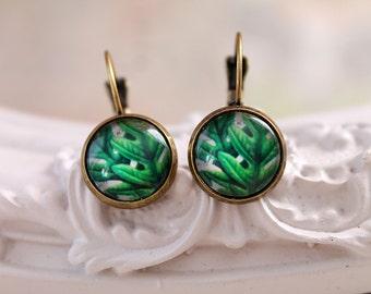 Green leafs  earrings simple nature romantic garden