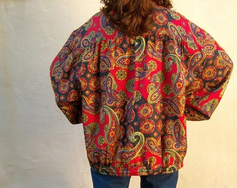 SILK paisley puffy jacket / Robert Stock / 80s 90s Versace style Barouqe hip hop bomber jacket windbreaker / unisex large xl