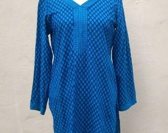 Batiki cotton tunic / East India pattern top / boho hippie beach cover / womens small medium
