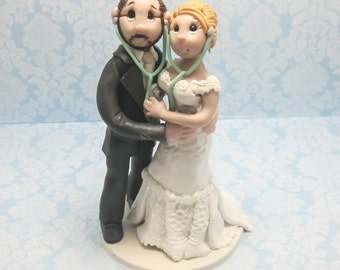 Doctor's Wedding Cake topper, Custom wedding cake topper, personalized cake topper, Bride and groom cake topper, Mr and Mrs cake topper