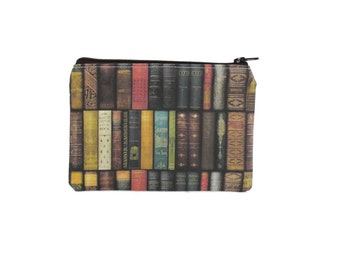 CHOOSE SIZE Antique Book Zipper Pouch / Book Lovers Small Bag / Vintage Book Library Wallet