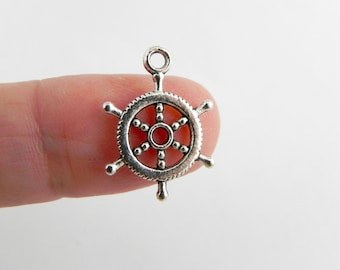 24 Nautical Ship Helm Charms in Antique Silver - 19mm x 13mm - double sided - H02