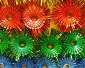 Vintage 50s 60s Christmas Light Reflectors Novelty Star Bulb Santa CLaus Plastic n Tinsel Red Green Blue Pink Yellow