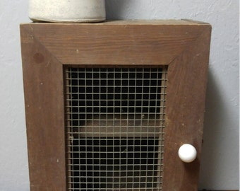 Vintage Chicken Wire Wood Medicine Cabinet, Primitive Cabinet, Hand Made, Porcelain Knob, Country Living Decor