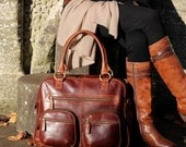 Brown Leather Weekend Holdall Travel Diaper Bag