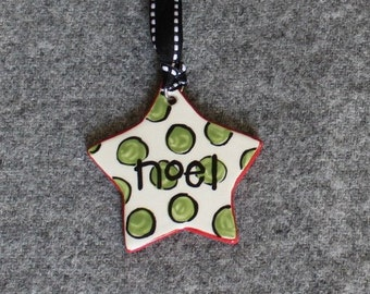 Star ornament, Holiday, Christmas, Noel, Polka Dots, Flowers, ceramic ornament