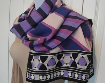 Vintage Emilio Pucci Fuilio 68 by 12 and 1/2 inch silk oblong scarf, Purple, pink, black, cream, taupe geometric print, Iconic Pucci colors