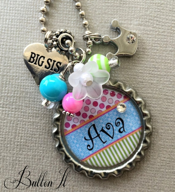 Sister Gift Big Sister OR Little Sister Necklace PERSONALIZED - kitty charm, princess crown, children jewelry, heart charm, baby shower