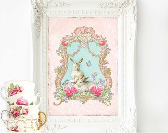Rabbit nursery decor in pink and blue, a woodland tea party with white rabbits, vintage decor, A4 giclee print