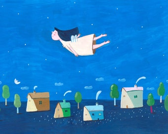 Flying on the wind   Original Illustration