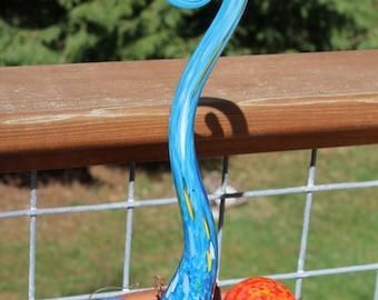 Baby Blue Glass Fiddlehead Garden Art Sculpture Outdoor Decoration