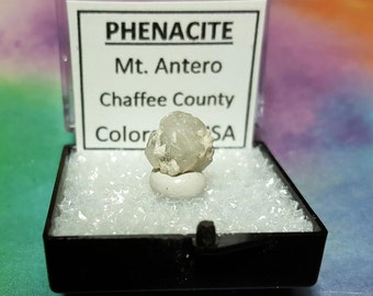 Sale PHENACITE Mt. Antero CO USA (Phenakite) Terminated Crystal In Perky Specimen Box From Chaffee County Colorado Beyond Rare
