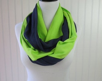 Seahawks Scarf - Seattle Scarf - Navy and Green Infinity Scarf - Seattle Seahawks Scarf - Team Scarf - Super Bowl Scarf