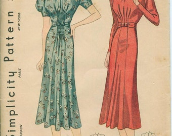 1930s Simplicity Dress Sewing Pattern Vintage 2720 Size 14 Stunning Art Deco Style