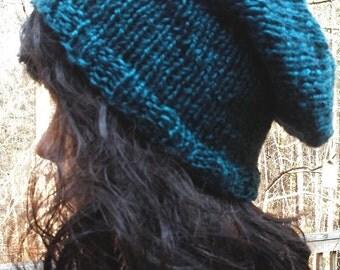 REDUCED Slouchy Beanie Teal Alpaca Blend Yarn Hand Knit READY to SHIP