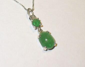 Tsavorite Green Garnet Pendant Necklace in Sterling Silver - Genuine, Natural Gemstones