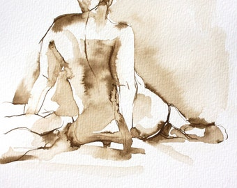Nude Female Back, Original Ink Wash Figure Drawing, Fine Art Nude, Hope Seated Leaning on Hands, Pen and Ink on Paper, Seated Female Figure
