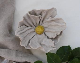 SALE. Fried Egg Flower bowl. White Poppy. Porcelain catch all, flower sculpture. California Coastal decor,  trinket dish gift.