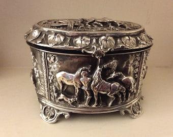 1900 Sterling Silver Jewelry Casket Art Nouveau Repousse Horses