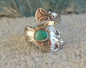 Vintage Turquoise Towle Sterling Spoon Ring Old Master dmfsparkles