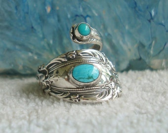Vintage Turquoise King Richard Towle Sterling Spoon Ring dmfsparkles