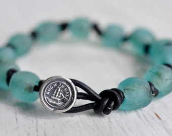 recycled glass bead ship wax seal boho bracelet... such is life - eco friendly wax seal jewelry